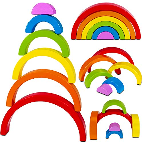 Product Image of the Dreampark Wooden Rainbow Stacking Toy Stacker Nesting Puzzle Blocks Montessori...
