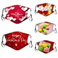 LOUSHI 5PC Adult Valentine'S Day Heart-Shaped Print Reusable Cloth Washable Cover Face Filters Ma_sks Rope Adjustable Cotton Ma_sks For Women And Men Ma_sk For Protection Face Mask Washable