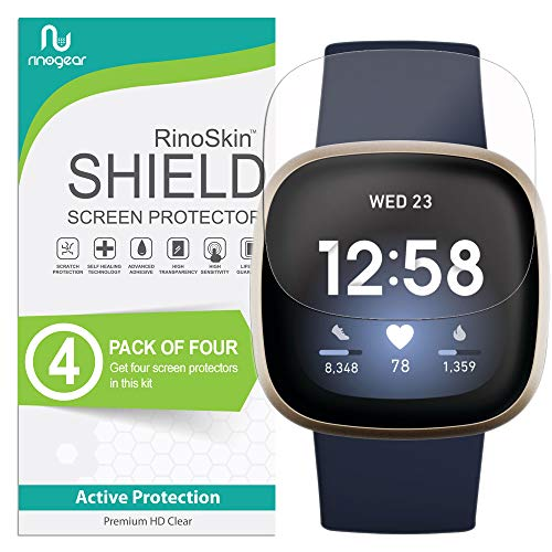 (4-Pack) RinoGear Screen Protector for Fitbit Versa 3 Case Friendly Fitbit Versa 3 Screen Protector Accessory Clear Film