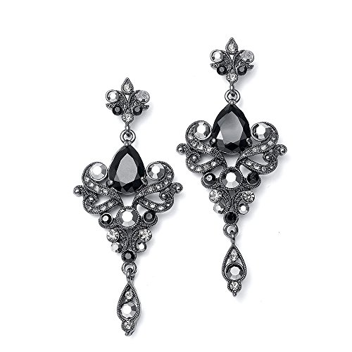 Mariell Vintage Black and Grey Crystal & CZ Chandelier Dangle Earrings for Fashion, Prom, Bridesmaids
