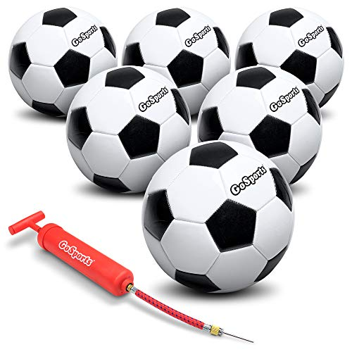 GoSports Size Soccer Ball 6 Pack Classic Soccerball 6 Pack - Size - with Premium Pump and Carrying Bag, Black/White, 3