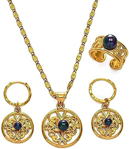 banbeitaotao Collar Hawaiano Collar de Perlas Negras Conjuntos de Joyas Collar de Hibisco Pendientes Anillos Micronesia Polinesio