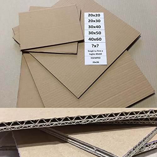 10 PEZZI Foglio cartone ondulato Spessore 3.5mm Dimensione 70x100 cm (400/450gr)