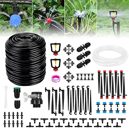 Buluri Garten Bewässerungssystem, 40M + 3M Automatisches Drip Bewässerungsset DIY Pflanzen Bewässerung Kit In- / Outdoor mit Einstellbares Tropfer für Garten Gewächshaus Blumen(40M + 3M)
