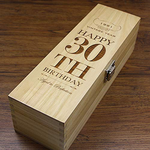 English Pewter Company Sheffield, England Caja de madera para regalo de 30 cumpleaños, diseño de vino, whisky o champán, con forro satinado [HING20]