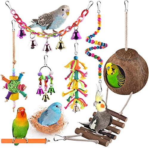 ERKOON Bird Parrot Toys, Hanging Natural Wooden Coconut Perch Birds House...