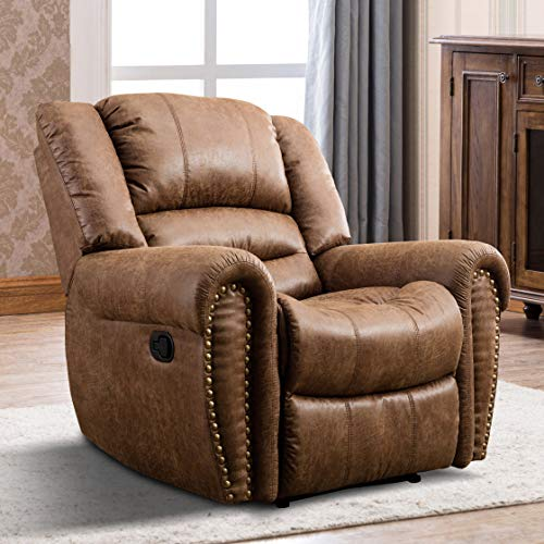 IOMOR Manual Reclining Chair, Oversized Vintage Leather Recliner Chair for Living Room (Nut Brown)
