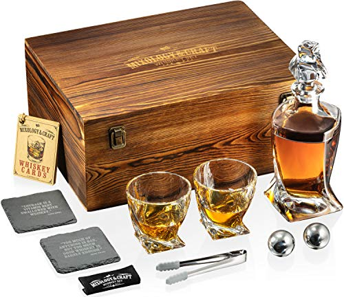 Whiskey Stones Gift Set for Men | Whiskey Decanter with Glasses Set and Wooden Box, 2 Stainless Steel Whiskey Balls and 10oz Whiskey Glasses | Whiskey Decanter Set For Men, Dad, Husband, Boyfriend