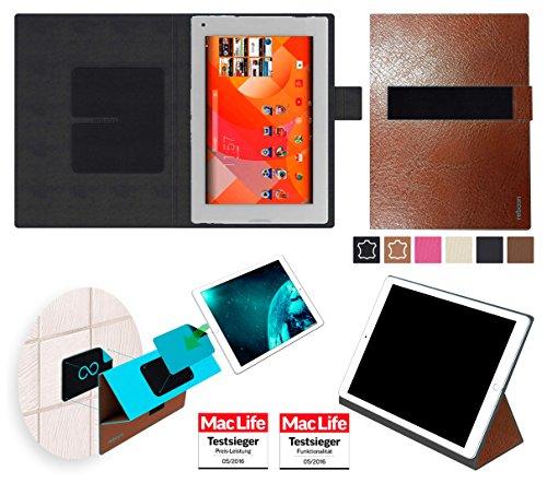 Hülle für Medion Lifetab P8912 Tasche Cover Hülle Bumper | Testsieger | Braun Leder
