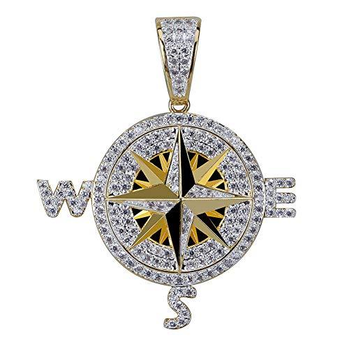 Mannen Bevroren Uit Kompas Kettingen & Hanger Bling Kubieke Zirkoon Chains High Quality Hip Hop Goud Zilver Kleur Charm Jewelry Gifts