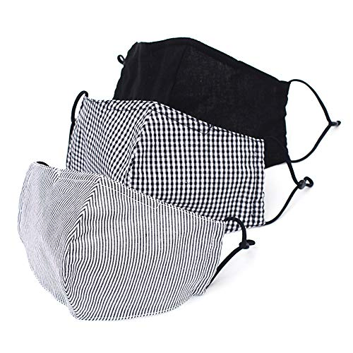 Jinmee Cloth Face Mask Washable Reusable Cotton 3 Pack Filter Pocket Nose Wire Adjustable Ear Loops Comfortable Breathable Fabric Designer Face Mask for Men & Women (Black Solid Check Stripe)