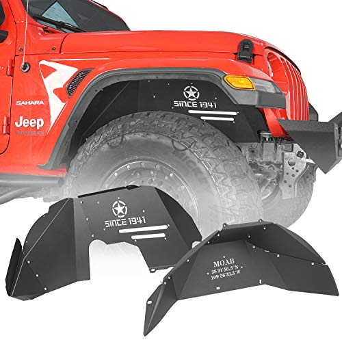 Hooke Road Wrangler JL Inner Fender Liners Mud Guards Front & Rear Kit Compatible with Jeep Wrangler JL 2018-2021 Sahara Rubicon Sport Sports