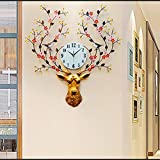 WJBH愛メイク鹿ヘッドクロックウォールクロックリビングルーム現代のクリエイティブ時計ホームミュートぶら下げテーブル北欧雰囲気装飾時計
