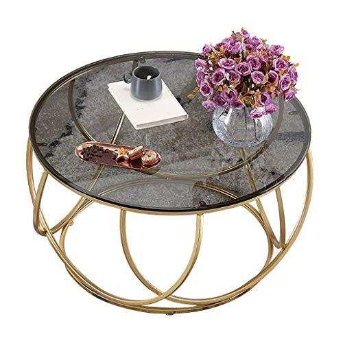N/Z Living Equipment Couchtisch Eleganter runder Teetisch aus gehärtetem Glas Geometrische Kreativität Goldrahmen Cocktailtisch Wohnzimmer Snack Balkon Büro Beistelltisch