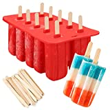 silicone popsicle molds,10-Cavity Slicone Frozen Ice Pop Maker with100Wooden Sticks for Toddlers, Kids and Adults - BPA Free(Red)