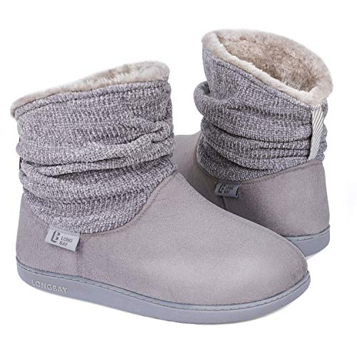 Longbay Women's Warm Chenille Knit Bootie Slippers Memory Foam Comfy Suede Fluffy Faux Fur Memory Foam Boots House Shoes (Large / 9-10, Gray)