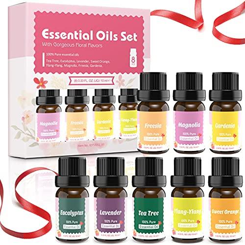 Ätherische Öle Set für Aroma Diffuser,Aromatherapie Duftöl Geschenkset,Top 8X10ml Naturrein Ätherisches Öl für Luftbefeuchter,Duftlampen,Seife DIY