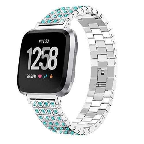 XIALEY Correa De Repuesto Compatible con Fitbit Versa 2 / Fitbit Versa/Fitbit Versa Lite, Pulsera De Reloj Banda De Metal De Acero Inoxidable para Mujer Compatible con Versa,Plata