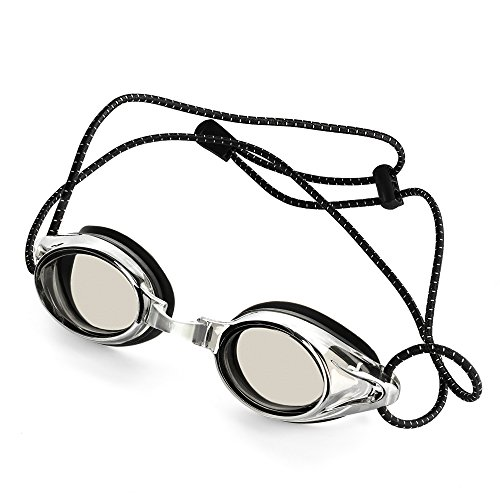 Proswims Anti-Fog Racing Swimming Goggles Gray Lens with Quick Adjustable Elastic Bungee Strap, Hard Case and Bonus Swim Goggles Microfiber Cleaning Cloth