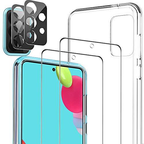 Luibor Pellicola Protettiva per Samsung Galaxy A52 4G&5G Vetro Temperato + Pellicola Fotocamera + TPU Cover [2+2+1 Pezzi] Samsung A52 Protezione Schermo