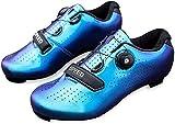 KUXUAN Zapatillas De Ciclismo De Carretera para Hombre - Zapatillas De Spinning con Zapatilla Peloton con Cala Compatible con SPD Y Delta para Hombre Zapatillas De Bicicleta,Blue-37EU