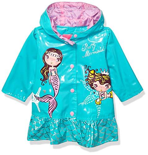Wippette Girls' Toddler Water Resistant Raincoats, Mermaid Seafoam, 2T