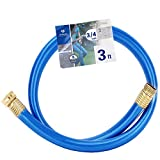 Solution4Patio Homes Garden 3/4 in. x 3 ft. Short Garden Hose Blue Lead-Hose Male/Female High Water Pressure with Solid Brass Fittings for Water Softener, Dehumidifier, Vehicle 8 Years Warranty