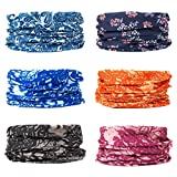EAZZEA 6pcs Magic Wide Tube Face Mask,Neck Gaiter, Headwear, Sports Scarf, Boho Bandana, Balaclava, Headband for Women and Men