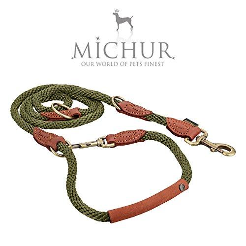 Michur Sherpa Hundeleine Green Hornet Führleine rund gewebt aus Nylon Tau mit robustem Leder verstärkt, 3-Fach verstellbar, in verschiedenen Größen erhältlich
