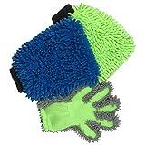 Polyte - Set de Guantes y Manoplas de Chenilla de Microfibra - Ideal para Lavar el Coche y Quitar el Polvo - Multicolor - 20 x 28cm - Pack de 3