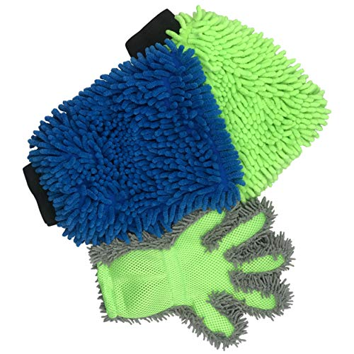Polyte Microfiber Chenille Car Wash and Dust Mitt and Glove Set, 3 Pack