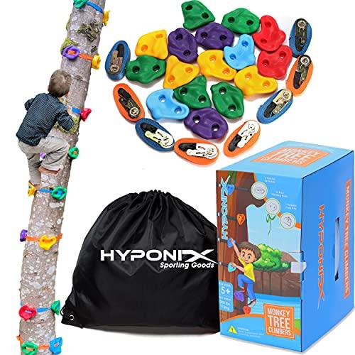 Hyponix Ninja Tree Climbing Kit – 16 Rock Climbing Holds for Kids 8 Ratchets – Ninja Tree Climber – Tree Climbing for Kids Outdoor – Ninja Warrior Obstacle Course – Outdoor Play – Outdoor Toys