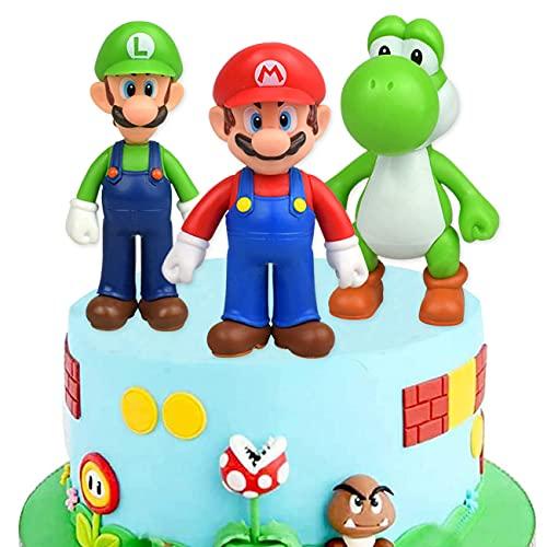 Super Mario Cake Topper Mini Juego de Figuras Set Super Mario Bros Toys Decoración de Pastel de Cumpleaños Caricatura Figura de Acción Regalo Suministros para Niños 3 Piezas