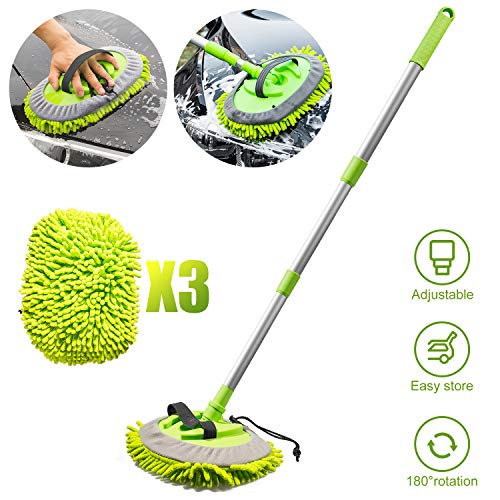"""ShinePick 2 in 1 Car Wash Mop Mitt Chenille Microfiber Car Wash Brush with 44.5"""" Aluminum Alloy Long Handle, 180° RotationCleaning Tool Brush Duster for Car Truck RV Bus(Green)"""