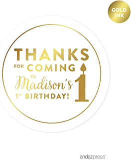 Andaz Press Personalized Round Circle Birthday Favor Gift Labels Stickers, Metallic Gold Ink, Thanks for Coming to My 1st Birthday, 40-Pack, Custom Made Name, Gold Invitations Stationery
