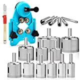 MERRIO 16pcs Φ6-50mm Diamond Hole Saw with Guidance Fixture and Glass Cutter Tool, Multifunctional Household tool kit suitable Ceramic and Marble, Glass, Granite Stone, Tile