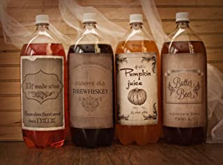 Harry Potter Vintage Style Halloween Wine Soda Bottle Labels 4 Pack Birthday Party Stickers