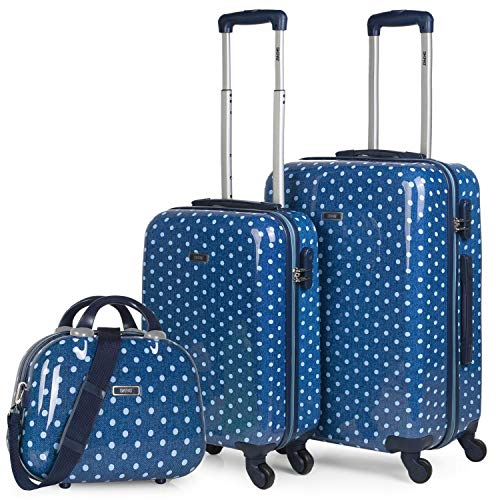 SKPAT - Set of 2 Rigid Trolley suitcases, 50/60 cm, and Beauty Case Printed Polycarbonate. Lightweight. Telescopic Handle, 2 Handles and 4 Wheels. 66400B, Color Mid Blue