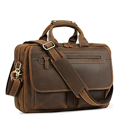 Kattee Leather Briefcase 15.6' Laptop Bag Messenger Bags for Men