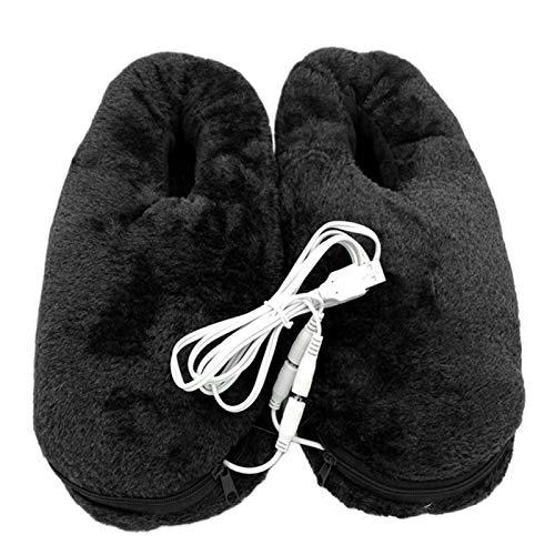 AUTUUCKEE USB Cold Relief Pies Calentador Pad Calefacción Zapatilla Calefacción Zapatos Portátil Invierno (negro)