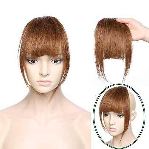 Clip in Pony 100% Remy Echthaar Fringe Bangs One Piece Haarteil In Front Hair Extension Verlängerung natürliche glatt Hellbraun#6