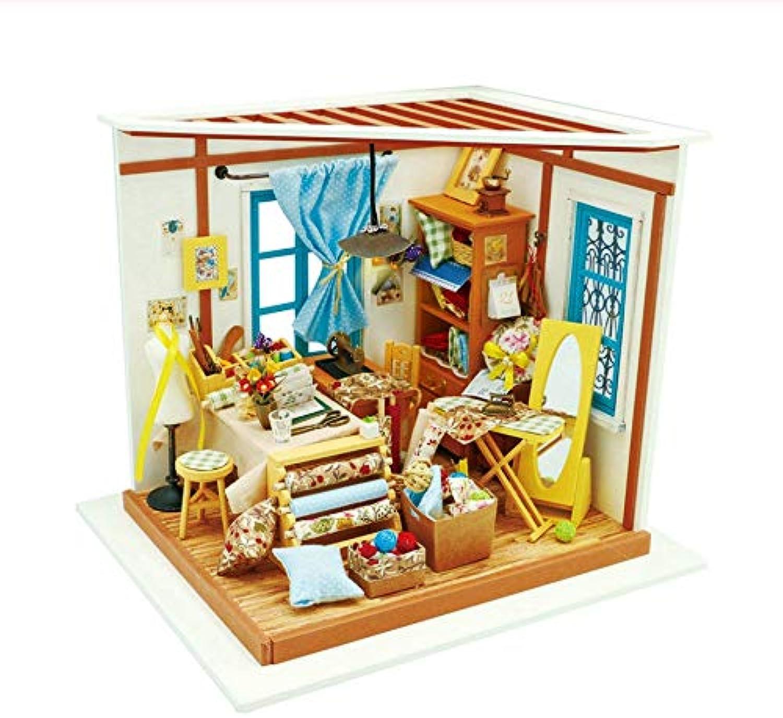 GUHUA DIY Puppenhaus Lisas Schneider Kinder Erwachsene Miniatur Holz Puppenhaus Modellbau Kits Lernspielzeug