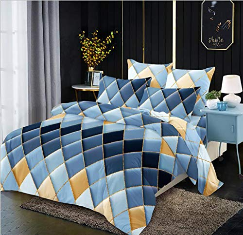 USTIDE Duvet Cover Soft Quilt Cover Soft Blue Grid Double Size Woman Man Quilt Cover Fashion Breathable Comforter Cover