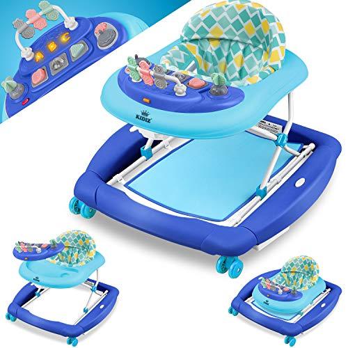 KIDIZ® 4in1 Lauflernhilfe Babywalker Spiel- und Lauflernwagen Gehfrei Schaukelfunktion Babywippe mit Rollen, Licht, Musik,Spielecenter Esstisch Laufstuhl Laufhilfe babys ab 6 Monaten Klappbar Blau