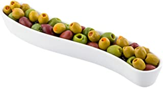 White Porcelain Olive Plate - Swerve Design, Beautiful Presentation - 9 Inches - 6 oz - 1ct Box - Restaurantware