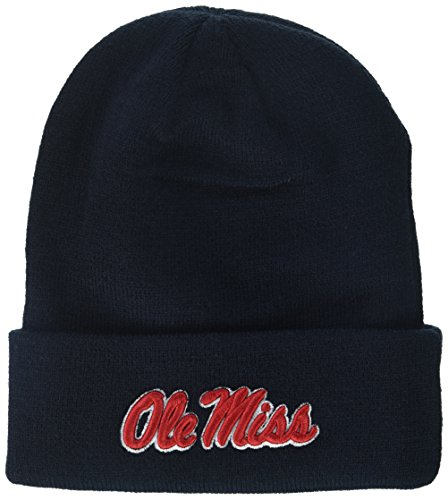 NCAA Zephyr Mississippi Old Miss Rebels Mens Cuff Knit Beanie, Adjustable, Team Color
