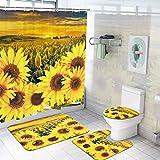 Ikfashoni Duschvorhang-Set mit Sonnenblumen-Motiv, rutschfest, WC-Deckelbezug & Badvorleger, gelbe Blumen, Duschvorhänge mit 12 Haken, wasserdichter Stoff-Duschvorhang für Badezimmer
