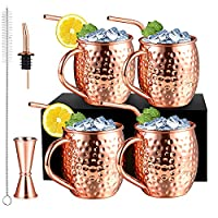 4 pezzi 530ml bicchieri moscow mule rame con 4 cannuccia, set bicchieri cocktail con 1 misurino e 1 beccuccio per vino, bicchiere tazze moscow mule mug con pennello per pulizia