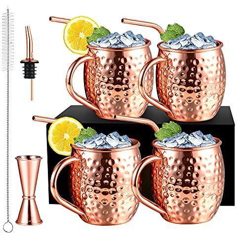 4 Stück 530ML Kupferbecher Moscow Mule Becher mit 4 Strohhalm Kupfer, Cocktail Set mit 1 Ausgießer / 1 Jigger / 1 Reinigungsbürste, Moskau Mule Becher für Alle Kaltgetränke Geeignet, Bestes Geschenk