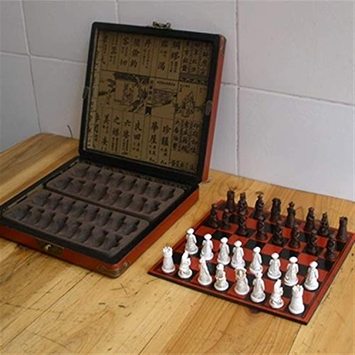 MQJ Chess Board Set Antique Chess Set of Chess Wooden Coffee Table Antique Miniature Chess Board Chess Pieces Move Box Set Retro Style Chess Board Traditional Games,Picture Color